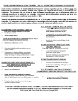 Patient Certification Policy-POLIZA DE CERTIFICACION PARA EL PACIENTE-SPANISH